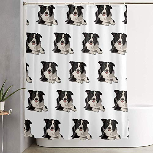 Duschvorhang,Waterproof Shower Curtains 60x70 inches Cute Border Collie Bathroom Shower Curtains Quickdry Fabric Bath Decor Set with Hooks -