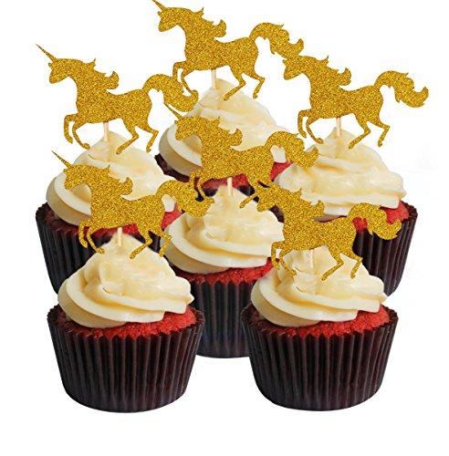 Einhörner Tortenaufsatz 30Stück/pcs, twinkle DIY Glitter gold Einhörner Mini Geburtstag Kuchen Snack Dekorationen Picks Herstellern Party Zubehör für Hochzeit Baby Dusche - gold
