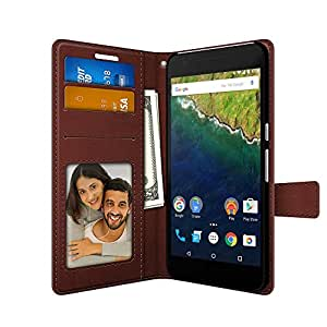 FOSO(™) Huawei Google Nexus 6P High Quality PU Leather Magnetic Flip Cover Case (Royal Brown)