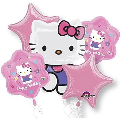 Single Source Party Supplies - 5 Balloon Hello Kitty Birthday Bouquet Combo Mylar Foil Balloons by Single Source Party Supplies - Hello Kitty Birthday Party Balloons