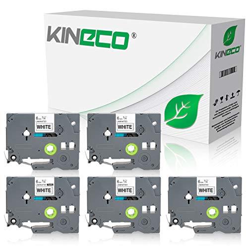 Kineco 5 Schriftbänder kompatibel für Brother TZE-211 6mm/8m - Schwarz auf Weiß P-Touch 1000 1010 1080 1090 1200 1200P 1230PC 1250 1280 1290 1750 1800 1850 200 220 2400 2450 2460 2470 2480 300 310