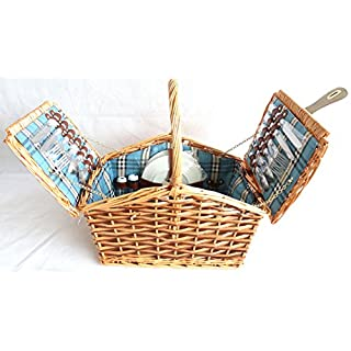 2 or 4 Person Luxury Wicker PICNIC BASKET Hamper Cutlery, Camping Outdoor Set (2 person, Blue lining)