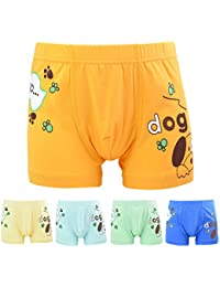 FydRise Lot de 5 Paires Boxers Garçons Coton Modal Imprimé Animal Chien Sous-vêtement pour Enfants 1-13ans