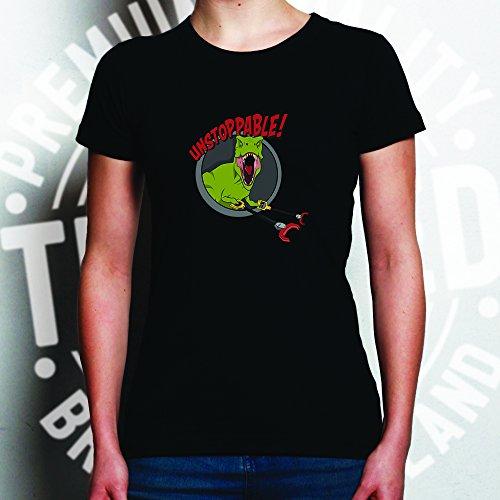 Unstoppable T-Rex avec accroches, Imprimé Conception Drôle de Dinosaure T-Shirt Pour Femme Grey