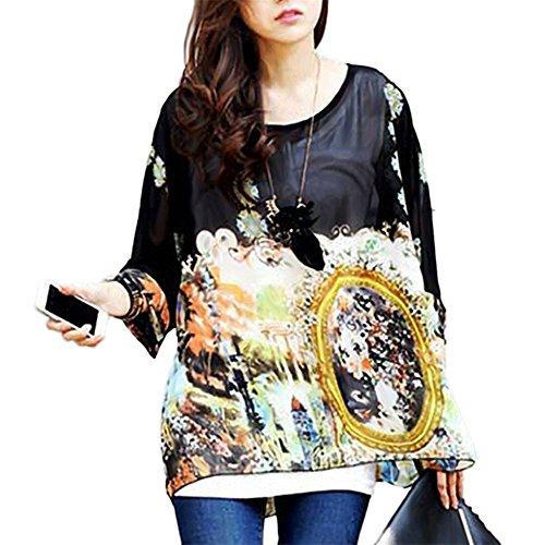 JLTPH Donne Tunica Shirt spiaggia delle del Batwing chiffon camicetta Hippie Shirt Top color30