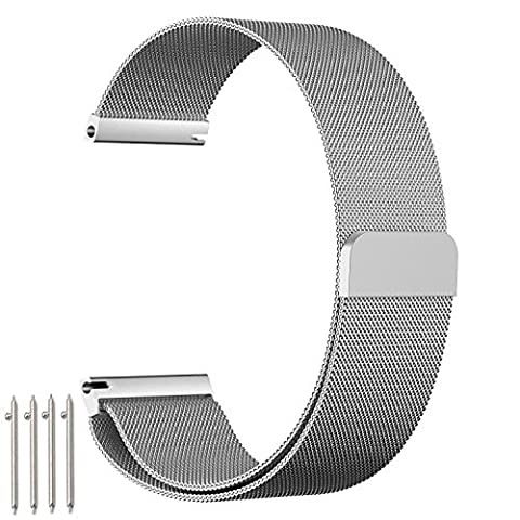 amBand Watch Band, 18mm Milanese Stainless Steel Strap with Unique Magnetic Lock (no Buckle Need) and Suitable for Huawei Watch Classic / Active, Withings Steel HR 36mm, Withings Activité POP / Steel / Sapphire, ASUS Zen Watch 2 1.45