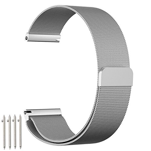 """Bracelet de montre amband, Bracelet en acier Inoxydable Milanais de 20 mm avec serrure magnétique Unique (sans besoin de boucle) et adapté pour la Montre Huawei classique / active, acier inoxydable 36mm, inactivité activité pop / acier / saphir, ASUS Zen Watch 2 1.45 """" Fossil q Tailor et d'autres avec une largeur de 20 mm, Argent"""