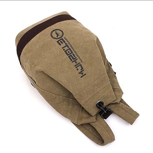 Zaino borse a tracolla Canvas Bucket Pack Borsa da basket Zaini personalizzati per escursionismo Fitness Khaki