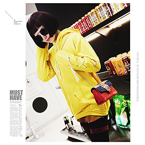 Borse a tracolla mini borsa a tracolla Yoome Contrast per ragazze Multi-tasca Borse per le donne - Nero Giallo