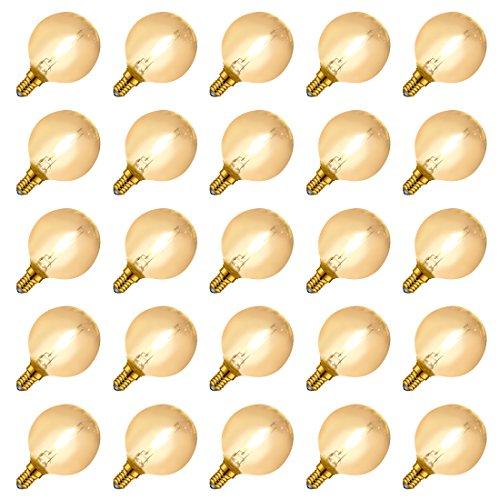LED g40 glühbirne für g40 lichterkette, Dimmbar, e14 sockel, Ersetzt 7 Watt, Warmweiß - 2700 Kelvin, 25er-Pack -