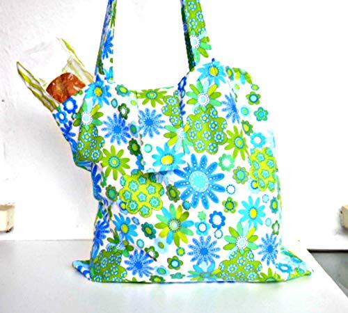 Falten Sie Einkaufstasche, wiederverwendbare Roll-up kompakte Einkaufstasche, lange Riemen Floral Tasche, produzieren Tasche, Markt falten weg, Notfall-Lebensmitteltasche -