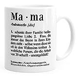MoonWorks Kaffee-Tasse Mama Definition Dictionary Wörterbuch Duden Geschenk für Mama Mutter Mama Weiß Unisize