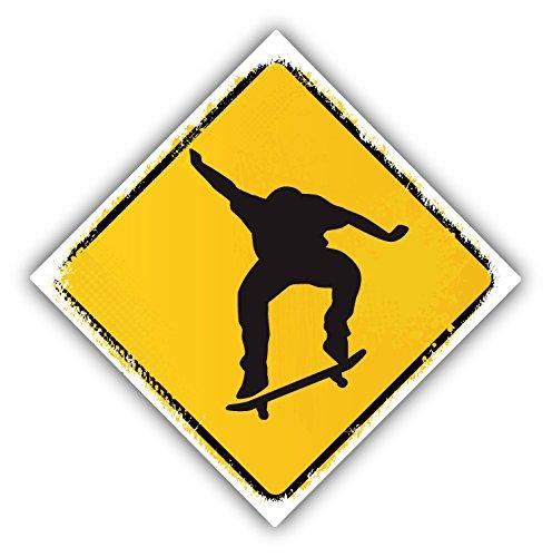 Skateboard Warning Sign Auto-Dekor-Vinylaufkleber 12 X 12 cm