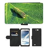 Just carcasa caliente estilo ranura de tarjeta de teléfono celular Funda de piel sintética//m00138235Caterpillar Lepidoptera Hoja Verde//Samsung Galaxy Note 2II N7100