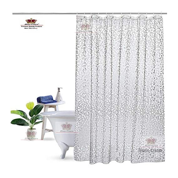 HOMECROWN 3D Design Semi Transparent Waterproof PVC 54x78 inches/4.5x7 ft Shower Curtain with Hooks for Hanging