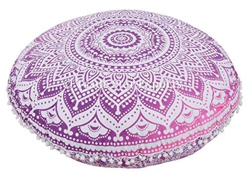 Indischen Ombre Mandala Kissen, GROßEN Runden Boden Kissen, dekoratives Kopfkissen, Roundie Boho Pouf Polsterhocker, POM POM Außenkissenbezug