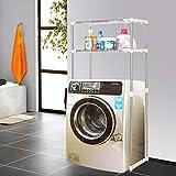 CWJ Regal-Hwf Badezimmer-Regale Zwei-Schicht-Multifunktions-Edelstahl-einziehbare Waschmaschine-Toiletten-Zahnstange