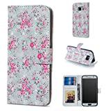 BONROY Hülle,Samsung Galaxy S6 Schutzhülle, Lederhülle PU Leder Tasche Cover Wallet Case für Samsung Galaxy S6 Smartphone-(XS-Rose)
