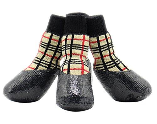 AIYUE® 4PCS Hundeschuhe Anti-Rutsch-Sportsocken Wasserdichte Pfotenschutz Gummisohle faltbares Hunde Schuhe Haustier Stiefel Boots