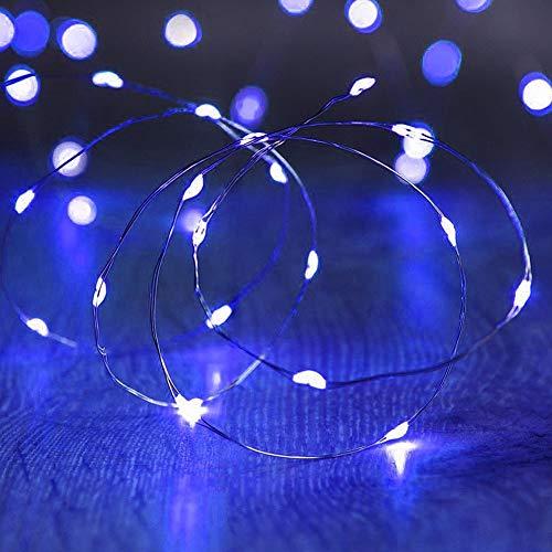 HVdsyf Luci a Stringa per Interni, 2/5 / 10m USB Fairy Lights Filo di Rame per la Decorazione della Festa Nuziale Ghirlanda Blu 5m 50led