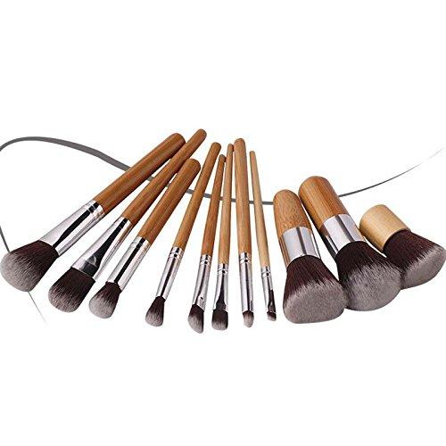 YUSHI 11 pièces Pinceau de Maquillage poignée en Bambou Portable Ensemble Brosse cosmétiques Pinceau à paupières Pinceau Blush (Sacs de Toile réutilisables Gratuit)