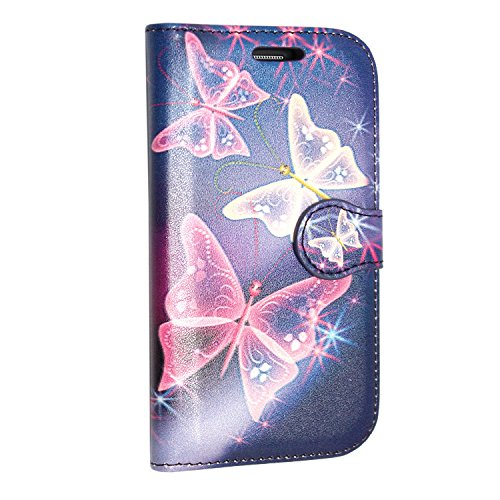 iPhone 7 Hülle , Kamal Star® [ Rose White Diamond Book ] Kunstleder Tasche PU Schutzhülle Tasche Leder Brieftasche Hülle Case Cover + Gratis Universal Eingabestift (Rose White Diamond Book) Butterfly Blue Book