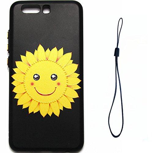 Coque pour Huawei P10 Plus,Étui Huawei P10 Plus Case,ETSUE Coque Huawei P10 Plus Slicone TPU Cover Housse de Téléphone avec Joli FleurTournesol fleur de pêcher en Relief ave Fond Noir Ultra Mince Coqu visage souriant Tournesol