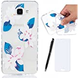 Lotuslnn Coque Samsung Galaxy A3 2016 Silicone avec Une fleur conception - Samsung galaxy A3 2016 Housse Etui en rose bleu Transparent
