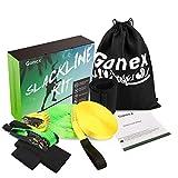 Gonex 18m Slackline Kit Comprend Sangle d'Apprentissage Protecteurs d'arbre Protection Cliquet Sac de Transport Facile à Installer Parfait Activité en Plein Air pour Enfant Famille Débutant et Avancé
