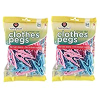 Caraselle Ecoforce 48 Strong Hurricane Force Grip Clothes Pegs Made of Recycled Plastic (2 Packs of 24)