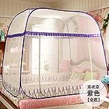 Mayihang Moskitonetz Kostenlose Installation Paket Mongolei Netze drei Falttür Reißverschluss 1,2 m 1.5/1.8M unteres Bett Home, Lavendel Lila [Ganz unten], 1,8 m (6 Fuß) Bett