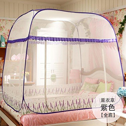 Mayihang Moskitonetz Kostenlose Installation Paket Mongolei Netze drei Falttür Reißverschluss 1,2 m 1.5/1.8M unteres Bett Home, Lavendel Lila [Ganz unten], 1,5 m (5 Fuß) Bett
