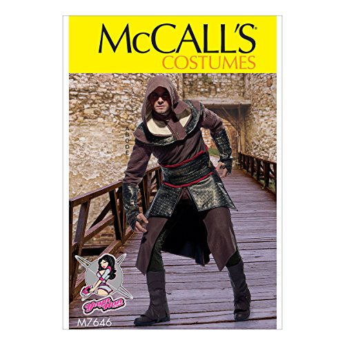 Yaya Han McCall's Patterns M7646MQQ Schnittmuster für Herren, Tunika, Top, Capelet, Gürtel und Stulpen für Cosplay, Kostüm, Größe - Assassine Kostüm Muster