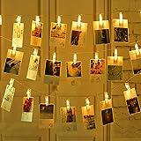 Salcar - 40pcs Fotoclips LED Lichterkette 4.2m/40 Foto-Clips, Batteriebetrieben Beleuchtung LED Dekoration für Wohnzimmer, Bar, Cafe, Weihnachten, Hochzeiten, Party - Warmweiß