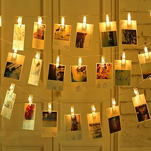 Salcar 40pcs Fotoclips LED Lichterkette 4.2m/40 Foto-Clips, Batteriebetrieben Beleuchtung LED Dekoration für Wohnzimmer, Bar, Cafe, Weihnachten, Hochzeiten, Party - Warmweiß (Licht Led Bar Beleuchtung)