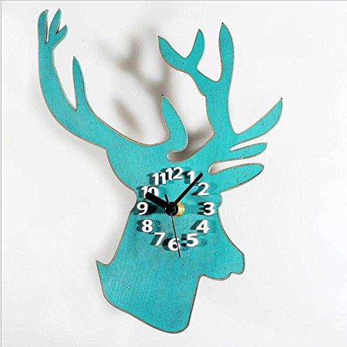 style-europen-rtro-bois-pastoral-couleur-crative-mignonne-tte-de-cerf-tte-murale-blue