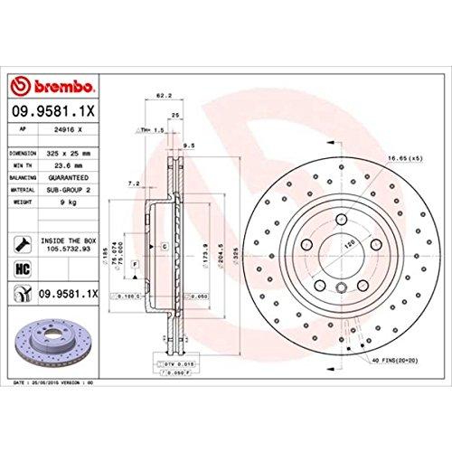Preisvergleich Produktbild BREMBO 09.9581.1X Bremsscheibe Scheibenbremsen,  Bremsscheiben (x2)
