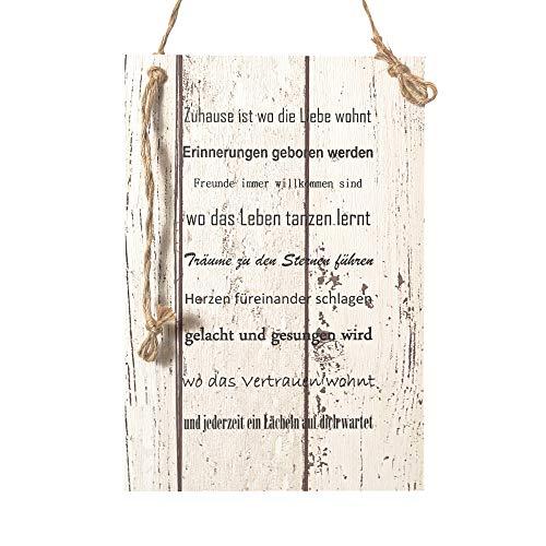Wand Deko Holzschild mit Spruch im Shabby Chic Vintage Stil (20x29x0,5cm) Zuhause IST Wo DIE Liebe WOHNT - die Geschenkidee