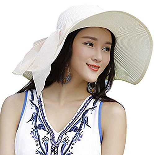 DRESHOW Stroh Sommerhut mit Sonnen Shade Bogen UPF 50+ Schlaff Aufrollen Strand Sonnenblende Böhmen Sonnenhut Hut für Damen Weiß
