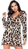 Momo&Ayat Fashions Damen-Wickelkleid mit Leoparden-Print und Minikleid EUR Größe 34-42 (EUR 38 (UK 10), Leopard-Druck)