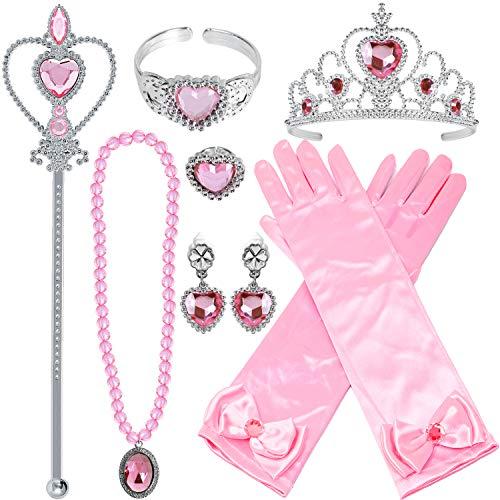 Tacobear Prinzessin Kostüm Zubehör Set Prinzessin Krone Zauberstab Handschuhe Ohrring Halskette Armband Ring Prinzessin Schmuck für Kinder Mädchen (Rosa-Prinzessin Aurora)