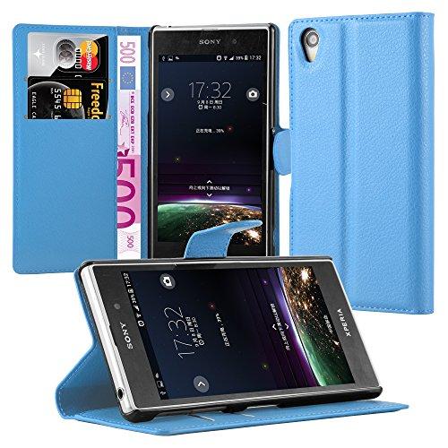 Cadorabo Funda Libro para Sony Xperia Z1 en Azul Pastel – Cubierta Proteccion con Cierre Magnético, Tarjetero y Función de Suporte – Etui Case Cover Carcasa