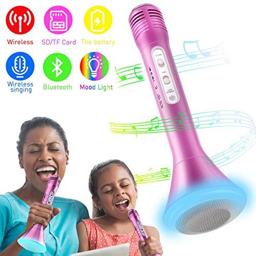 Mikrofon Kinder Bluetooth Karaoke, Portable Drahtlose Handmikrofon Lautsprecher Player Kabellos Mikrofon, Mikrofon Kinder für KTV Musik singen spielen, Unterstützung iPhone Android IOS Smartphone PC iPad