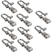 BEETEST 10 piezas Cinc aleación cuerda exterior ajustable 4-Hole Paracord supervivencia pulsera hebilla ancla grillete accesorios U forma