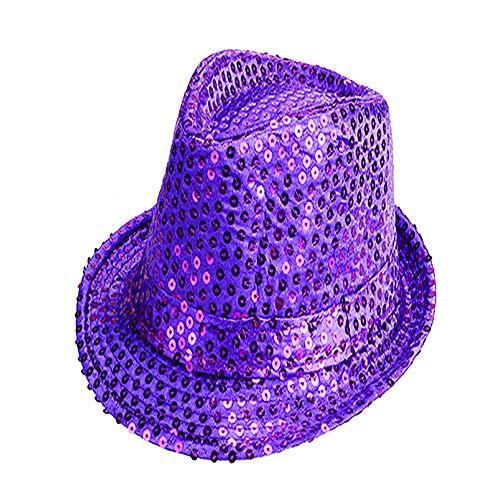 Zylinder Pailletten Jazz Dance Erwachsene Kinder, Golden Silver High Hat Stage Show, Frauen Männer Unisex Erwachsene Glitter Pailletten Jazz Hut Kostüm Party Cap,Purple,M (Teenager Jazz Dance Kostüm)