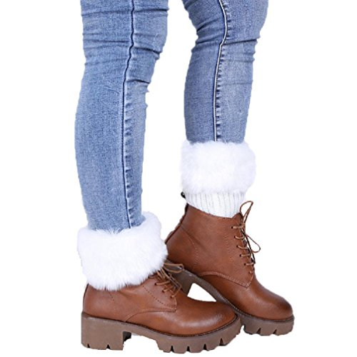 Haresle Damen Stulpen Furry Stiefelmanschetten Beinwärmer Häkeln Kurze Socken (weiß) (Damen Stiefel Furry)