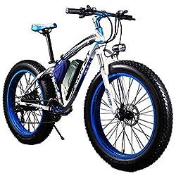"Rich BIT poco bicicletas eléctricas para hombre Cruiser grasa bicicleta tp012 1000 W * 48 V * 17Ah Fat tire 26 ""* 4.0inch 7 marchas Shimano dearilleur de ciclismo azul"