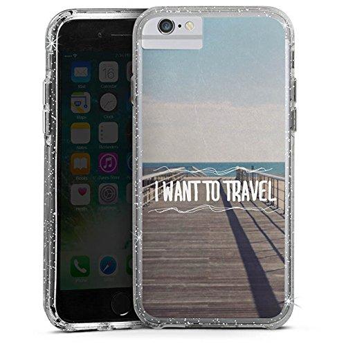 Apple iPhone 6s Bumper Hülle Bumper Case Glitzer Hülle Reisen Travel Sommer Bumper Case Glitzer silber