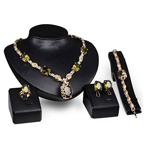 (JAGENIE Hochzeit Brautschmuck Jewelry Set Faux Edelstein Anhänger Halskette Ohrringe Armband Ring)