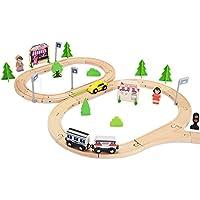 Preisvergleich für QXMEI Kinderspielzeug Kinder Bausteine Holzbahn Autos Kleine Zug Blöcke Lernspielzeug Produkt Größe: 15 7 Zoll * 2 8 Zoll * 11 8 Zoll